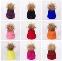 Winter Women Knitted Hat Warm Pom Pom big ball Wool Hat Ladies Skull Beanie Solid Female Outdoor Caps LJJA2808-00113