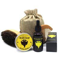 Hommes Barba Barbe Kit 5Pcs / Set Toilettage Hydratante Cire Barbe Huile Baume Peigne Essence Coiffure hommes Barbe Kit Set 20sets