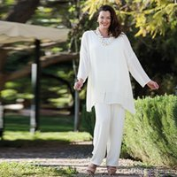New White Chiffon Mother Of The Bride Pantalone con maniche lunghe Wedding Guest Dress Plus Size Abiti economici Mothers Of The Groom