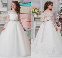 Goedkope witte bloem meisje jurken voor bruiloften kant meisjes pageant jurken eerste communie jurk kleine meisjes prom bal gown0