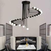 Nordic Retro Fer Forgé Lustre industriel Art Moderne Escaliers Forme Spirale Pendentif Lampes Bar Café salon restaurant