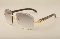 새로운 공장 직접 고급 패션 sunglasses3524014natural blackpattern 혼 하이 엔드 선글라스 조각 렌즈, 개인 사용자 정의 새겨진 이름
