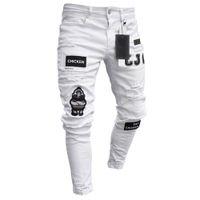 Patchwork Biker Stickerei Drucken Jeans 3 Arten Männer Stretchy zerrissene Skinny Zerstörte Loch Taped Slim Fit Denim Kratzer Hochwertiger Jean