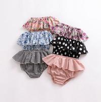 Niñas bebés Pantalones cortos de encaje triángulo infantil Pantalones cortos recién nacido Doblar Bloomers PP Niño Pantalones ropa del niño de 5 diseños DW1974