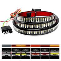 """Kırmızı Fren Beyaz Ters Sıralı Amber Sinyaller Torna Strobe Işıklar ile Kamyon Altı Bar 60"""" Üçlü Sıra 504 LED Şerit"""