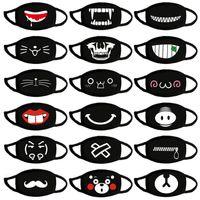 Cotone antipolvere anime cartone animato kpop fortunato orso donna uomini carino espressione maschera maschera bocca maschera nera maschera bocca mezza maschera viso muffle