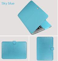 """حافظة بو الجلود لجهاز ماك بوك اير 11 اير 13 برو 13 برو 15 '' نيو ريتينا 12 13 15 غطاء لجهاز ماك بوك 13.3 """"15.4"""" 15.6 """"-Sky Blue"""
