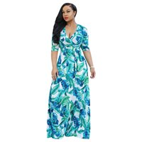 Free Ship Women Sexy V-neck Floral Print Maxi Dresses Casual Waistband Long Full Length Dress for Lady 3XL Plus Size