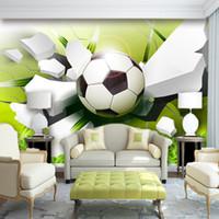 Обои на заказ настенные росписи нетканые обои Современный 3D стереоскопический футбол сломанный гостиной диван телевизор фон Po