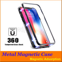 Custodia Magnetica per iPhone XR XS MAX X 8 Plus 7 con Custodia in metallo con retro in vetro temperato Cover per iPhone 7 6 6S Plus Custodia 5 colori