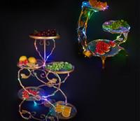 Nouveau rechargeable led Luminous Fruit Plateau Plateau En Métal Gâteau Sushi Plaque Cas Servir Plateaux De Mariage centres de table de mariage Bar discothèque Partie d'approvisionnement