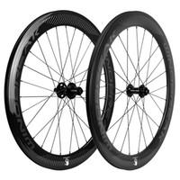 Clincher / Tubular Frein à disque carbone Wheelset 60mm Profondeur 23mm Largeur carbone Roues Vélo de route 3k Volants brillant CX3 Hub