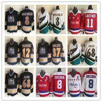 Alex Ovechkin Jerseys 1990 Vintage Washington Capitals 37 Kolzig 12 Jeff Friesen 68 Jaromir Jagr CCM Classic Hockey cucita Rosso Bianco Nero