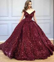 2020 Sparkly Bordo Payetli Kapalı Omuz Quinceanera Elbiseler V Boyun Sequins Balo Akşam Parti Elbise