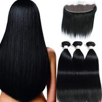 الماليزي العذراء الشعر Extenisons straoght ربطة الشعر مع 13X4 الرباط أمامي 4PCS / الكثير الإنسان شعر الجسم موجة موجة عميقة 8-28inch
