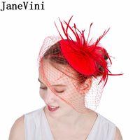 JaneVini Heißer Verkauf Braut Facinator Hut Rote Federn Netz Schleier Braut Stirnband Haarspange Hochzeit Hut Party Haar Birdcage Schleier