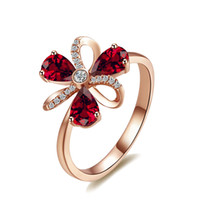 Women' s Engagement Ring Red Rhinestone Flower Gold Colo...