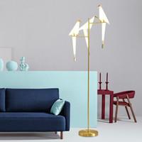 lâmpada Pássaro de papel Pavimento Soalho Nordic ouro luz do quarto sala de estar origami luz Estudo mesa lâmpada de leitura Deco Luminaire