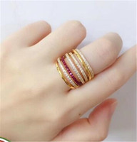 2019 Luxury Gold ring female Vintage ring simple atmosphere ...