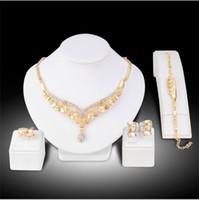 Mode Mittlerer Osten Braut vergoldet Halskette Set Braut Ohrringe Halskette Ring Armband Sets Hochzeit Rhinestones Schmuck Sets