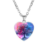 Nueva Árbol de la planta de forma de vida para las mujeres Collares de cristal cabujón corazón cadenas colgante de joyería de moda regalo