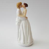 Décoration de gâteau de mariage belle blanc et noir fiancés chiffres Couple Toppers classique Embrasser Hug vente pas cher