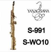 En iyi kalite Yeni YANAGISAWA S-WO10 B (B) Ton Yüksek Kalite Soprano Saksafon Pirinç Altın Vernik Sax ile Ağızlık Kılıf
