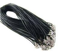 Mejor Venta al por mayor 1.5 mm Componentes de joyería Lotes Collar de cuero Negro marrón Cordón de cuero real Broche de langosta Ajuste colgante