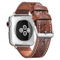 Gerçek Deri Watchband İçin Elma İzle Band 38MM 42mm Kabartma Retro Desen Bileklik Bilezik Kayışı İçin iWatch Series 5 4 3 2 1