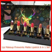 New Lip Makeup Set Fogos Elk Matte Lipstick 6 cores de batom 6 em 1 Lip Make Up Kit com caixa de presente