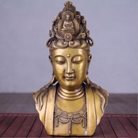 새로운 골동품 공예 선물 골동품 오래된 청동 부티크 풍수 장식품 절반 길이 부처님 Guanyin 부처님 머리
