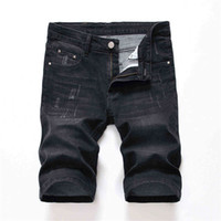 Designer Mens Straight Jean Shorts Summer Skinny Holes Black...