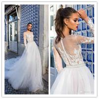 2019 Frühling Milla Nova Land Günstige Hochzeitskleid Brautkleider Bateau Neck Applique Long Sleeves Illusion Brautkleider robe de mariée 32