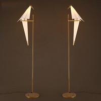 아트 데코 새 종이 플로어 램프 침실 스튜디오 거실 램프 스탠드 종이 접기 등 연구 침대 옆 독서 테이블 골드 플로어 램프