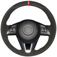 Рулевое управление DIY черной замши Обложка автомобилей Колесо для Mazda 3 Axela 6 Atenza 2 CX3 CX-5 CX3