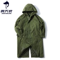 Мужские траншеи Пальто мужской армии зеленый длинный стиль пальто с капюшоном талии DrawString Japan 2021 осень тонкий толстый мужской свободной куртки черный