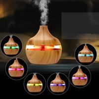 Neue Aromatherapie Ätherische Öldiffusor Bambus Luftbefeuchter Holzkorn Ultraschall Kühle Nebel Diffuser mit 7 LED-Farblicht H017
