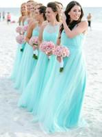 Mint Green Halter Tüll Lange Brautjungfernkleider 2020 mit Rüschen besetzten Strand Boho Hochzeit Gast Party Trauzeugin Kleid BM1950