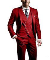 New Cheap And Fine Peak Lapel Groomsmen One Button Groom Tuxedos Men Suits Wedding Prom Dinner Best Man Blazer(Jacket+Pants+Tie+Vest) 242