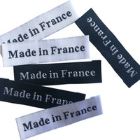 100 unids / lote hecho en Francia / Italia Etiquetas de origen para prendas de ropa Etiquetas hechas a mano para ropa Costura Notiones Etiqueta de costura