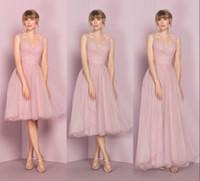 Più nuovo economici rosa Tulle abiti da damigella d'onore scollatura senza maniche pieghe Kelseyrose vendita calda abito da sposa ospite