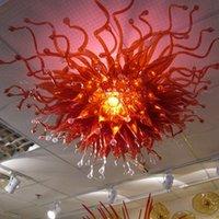 Victorian Único Único de color rojo araña de cristal sala de estar decoración 100% manual soplado vidrio techo luces de techo