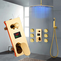 Gold Shower Faucet Digital Display Embedded Box Triple Valve...
