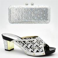 Neue Ankunft Sommer Hochhackige Schuhe für Frauen Schuhe und Taschen für Hochzeit Nigerianischen Frauen Party Pumps mit Tasche Sets