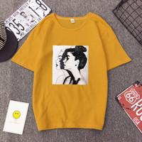 Nowa Moda T Shirt Kobieta Wiosna Letnie Dziewczyny Drukuj Z Krótkim Rękawem O Neck Cotton Spandex Kobiety Top Slim Fit Soft Women Tshirt WGNVTX184