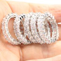 Toptan-Moda Takı Gerçek 925 Gümüş Prenses Beyaz Topaz cz pırlanta Yüzük Kadınlar Düğün Nişan Band Ring Hediye