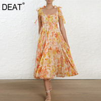 DEAT 2019 new summer fashion women vacation dress square col...