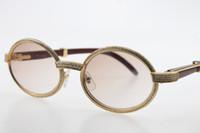 도매 나무 작은 큰 돌 선글라스 라운드 7550178 빈티지 남여 태양 안경 18K 골드 브라운 렌즈 고품질 C 장식 안경