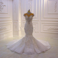 Luxury High Neck Crystal Beaded Mermaid Wedding Dress Vintag...