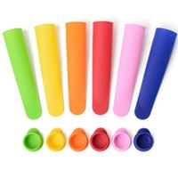 Kapak Mutfak Aletleri Gıda Tipi Çocuk Buz Pop Maker Kalıplar DH0402 ile 6 Renk DIY Silikon Dondurulmuş Dondurma Eski Popsicle Kalıp